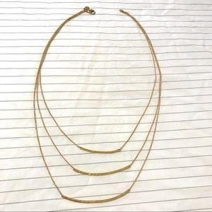 Gorjana gold layered hammered bar necklace